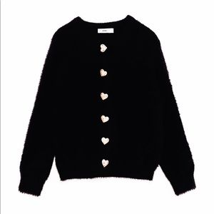 *Zara Fuzzy Cardigan with Heart Buttons Med NWT*